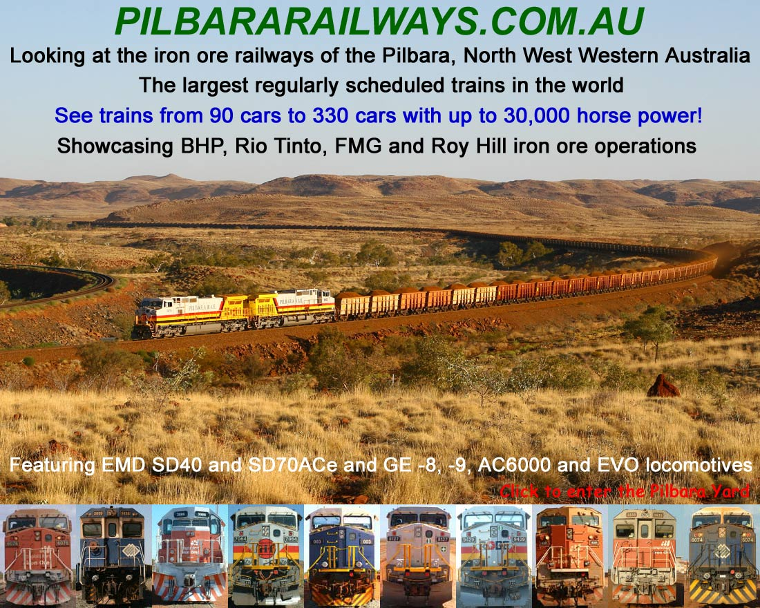 Welcome to Pilbara Railway Pages. Click to enter the Pilbara Yard
